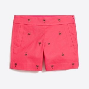 NWT J. CREW: palm tree embroidered salmon shorts